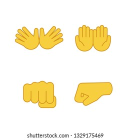Hand gesture emojis color icons set. Jazz, hug, begging gesturing, punching fists. Cupped and opened palms. Isolated vector illustrations
