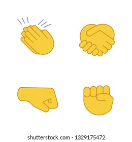 Hand gesture emojis color icons set. Applause, congratulation, handshake gesturing. Right and raised fists. Isolated vector illustrations