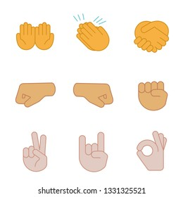 Hand gesture emojis color icons set. Begging, applause, handshake, left and right fists, peace, rock on, OK gesturing. Shaking, cupped, clapping hands. Isolated vector illustrations