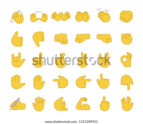 Hand gesture emojis color icons set. Pointing fingers, fists, palms. Social media, network emoticons. OK, hello, rock, like gesturing. Hand symbols. Isolated vector illustrations
