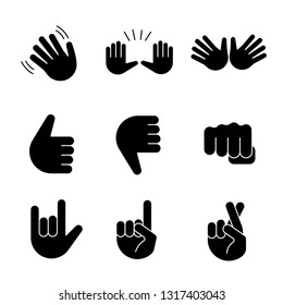 Hand gesture emojis glyph icons set. Waving, stop, jazz, thumbs up and down, fist, love you, luck, lie gesturing. Open hands, crossed fingers. Silhouette symbols. Vector isolated illustration
