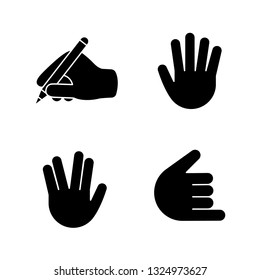 Hand gesture emojis glyph icons set. Writing hand, vulcan salute, high five, shaka, call me gesturing. Silhouette symbols. Vector isolated illustration