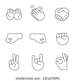 Hand gesture emojis linear icons set. Thin line contour symbols. Begging, applause, handshake, left and right fists, peace, rock, OK gesturing. Isolated vector outline illustrations. Editable stroke