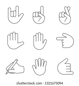 Hand gesture emojis linear icons set. Thin line contour symbols. Love you, luck, lie, high five, counting five, shaka gesturing, writing hand. Isolated vector outline illustrations. Editable stroke