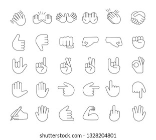 Hand gesture emojis linear icons set. Thin line contour symbols. Pointing fingers, fists, palms. Social media, network emoticons. Hand symbols. Isolated vector outline illustrations. Editable stroke