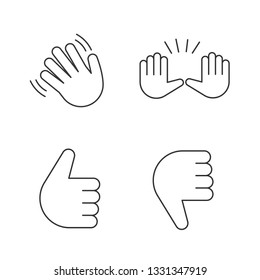 Hand gesture emojis linear icons set. Thin line contour symbols. Hello, goodbye, stop, good job, disapproval gesturing. Thumbs up and down. Isolated vector outline illustrations. Editable stroke