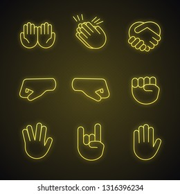 Hand gesture emojis neon light icons set. Begging, applause, handshake, left and right fists, rock on, vulcan salute gesturing. Shaking, clapping hands. Glowing signs. Vector isolated illustrations