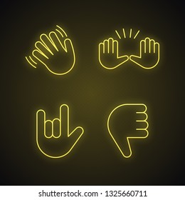 Hand gesture emojis neon light icons set. Hello, goodbye, stop, love you, disapproval gesturing. Waving and raising hands, thumbs down, rock on glowing signs. Vector isolated illustrations