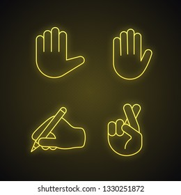 Hand gesture emojis neon light icons set. Stop, high five, luck, lie, superstition gesturing. Raised and writing hands, crossed fingers. Glowing signs. Vector isolated illustrations
