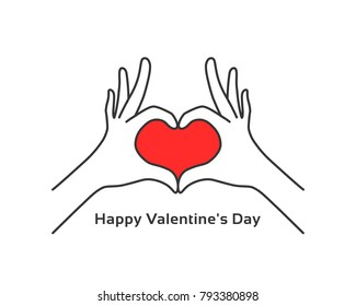 hand gesture heart like happy valentines day. flat stroke style trend modern logotype graphic art design isolated on white background. concept of people body language for insurance or romantic date
