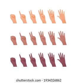 Hand gesture icon collection. Vector flat multiracial llustration set. Caucasian, african american and indian ethnic. Finger count symbol. Open palm. Design element for web.