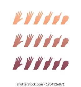 Hand gesture icon collection. Vector flat multiracial llustration set. Caucasian, african american and indian ethnic. Finger counting symbol. Back of palm. Design element for web.