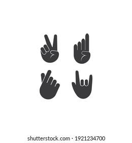 Hand gesture icon logo simple template design