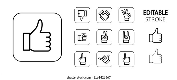 Hand gesture icon set. Thumbs up down, handshake, ok, fig, victory and rock sign, middle and pointing fingers, shaka hand. Simple outline web icons. Editable stroke. Vector illustration.