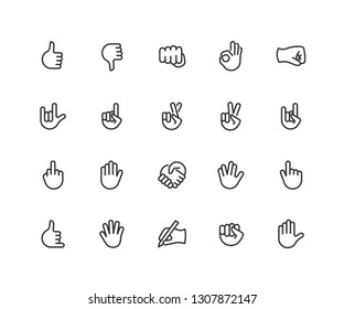 Hand gesture linear icons set. Point out, cool, approve, hello, heavy metal, thumbs up, fist, direction point symbols. Thin line Editable Stroke. 48x48 Pixel Perfect.