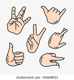 Hand Gesture Minimal Colorful Flat Line Stroke Icon Pictogram Symbol Illustration
