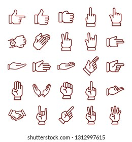 hand gesture. minimal thin line web icon set. simple vector illustration outline. concept for infographic, website or app.