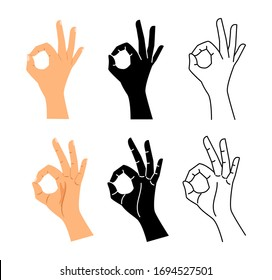 Hand gesture. Ok hand sign illustration. Isolated Okay, agree or perfect black line symbol vector set