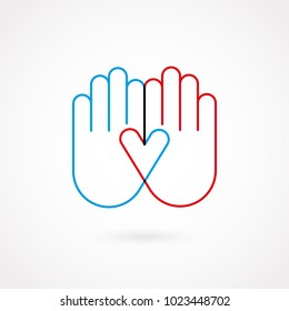 Hand gesture outline. Flat design, vector illustration