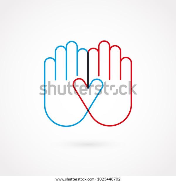 Handgesichtslinie. Flaches Design, Vektorgrafik