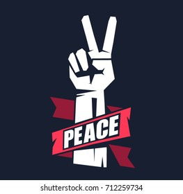 Hand gesture peace sign