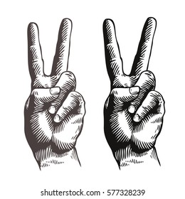 Hand gesture peace sign, symbol. Sketch vector illustration