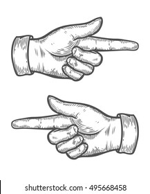 Hand gesture. Pointing left and right finger. Retro vintage sketch vector illustration. Engraving style. black isolated on white background