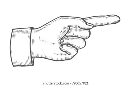 Hand gesture. Pointing right finger. Retro vintage sketch vector illustration. Engraving style. black isolated on white background