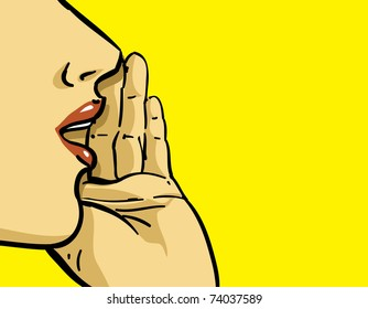 hand gesture of pop art woman illustration, yellow background, spread the word theme