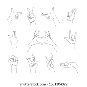 Hand gesture set continuous line drawing, two fingers up single line on a white background, isolated vector illustration. Tattoo, print and logo design. Goat gesture, pistol, fist, snap, heart sign.