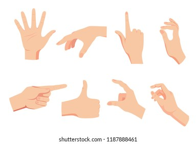 hand gesture set isolated on white background vector, flat style