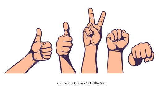 Hand gesture set. Sign of Like, Yes, Victory, Peace, Freedom, Fight. Concept for political, social poster. Vector illustration.