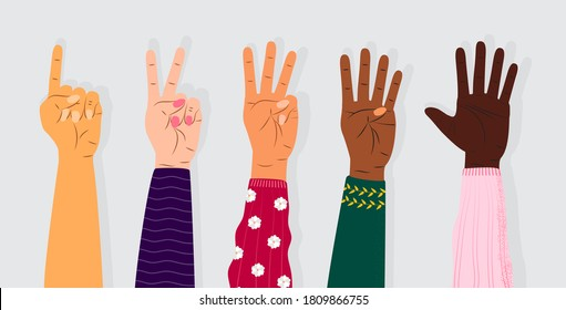 Hand gesture sign vector. Set of counting on fingers. Five wrist icons with finger count in cartoon style. Hands of people of different races. Diverse society illustration.