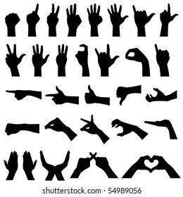 Hand Gesture Silhouettes in Vector