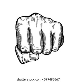 Hand gesture sketch. Fist sign or Punch symbol. Illustration isolated on white background Template for poster, logo, web, retro card design. Engraving style