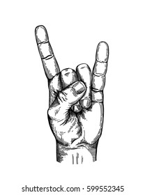 Hand gesture sketch. Rock and Roll symbol. Illustration isolated on white background Template for poster, logo, web, retro card design. Engraving style