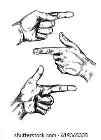 Hand gesture sketch set. Finger-pointing symbol. Illustration isolated on white background. Engraving style