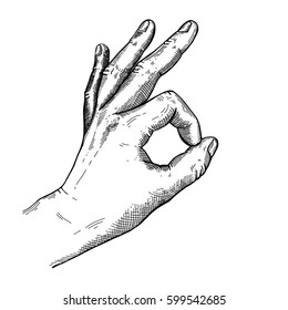 Hand gesture sketch. Zero sign or okay symbol. Illustration isolated on white background Template for poster, logo, web, retro card design. Engraving style