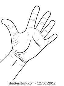 Hand gesture style with lines of wrinkled human skin. Isolated vector illustration of human hand.