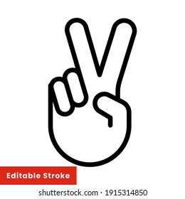 Hand gesture V sign for victory or peace line icon. Simple outline style for apps and websites. Vector illustration on white background. Editable stroke EPS 10