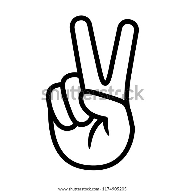 Hand gesture V sign for victory or peace line art vector icon for apps and websites