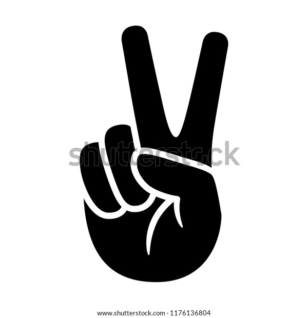 Hand gesture V sign for victory or peace flat vector icon for apps and websites