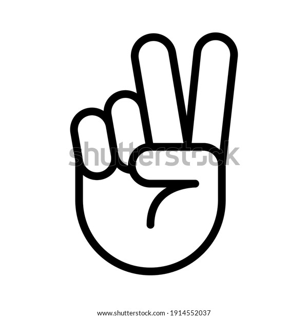 Hand gesture V sign for victory or peace line icon. Simple outline style for apps and websites. Vector illustration on white background. EPS 10