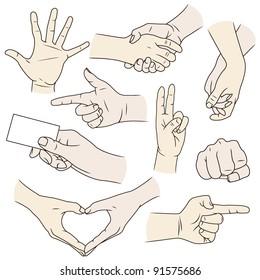 Hand gesture vectors in color