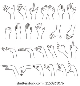 hand gestures 01, vector file set