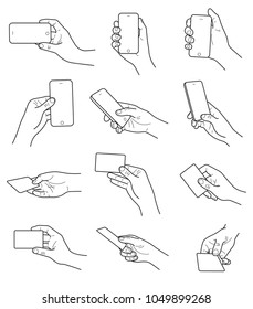 Hand gestures with card and phone vector set