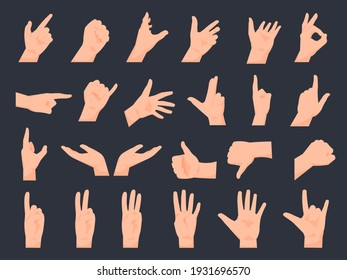 Hand gestures. Cartoon human arms, isolated palms positions. Pointing and counting with fingers. Clenched fist or OK sign. Collection of gestural communication icons. Vector web stickers template set