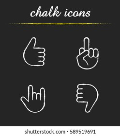 Hand gestures chalk icons set. Thumbs up, dislike, heavy metal, middle finger up. Isolated vector chalkboard illustrations