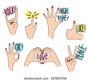 Hand gestures collection in fun cartoon style 1