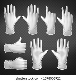 Hand gestures in different positions isolated on transparent background. Human palm dressed in white glove show, pointing, holding and represent fingers and thumb up. Realistic 3d vector illustration.